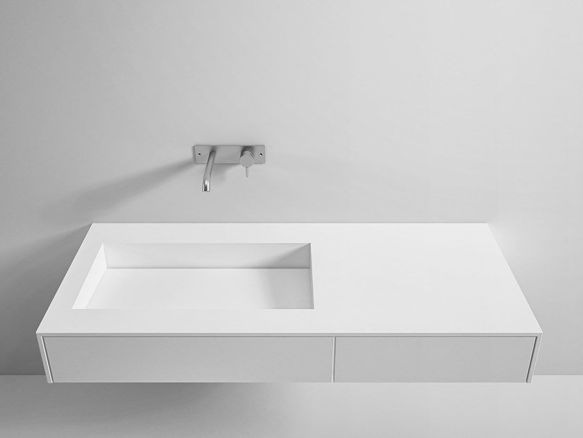 Wall-mounted Corian® washbasin with drawers SCIVOLO | Washbasin with drawers by Rexa Design