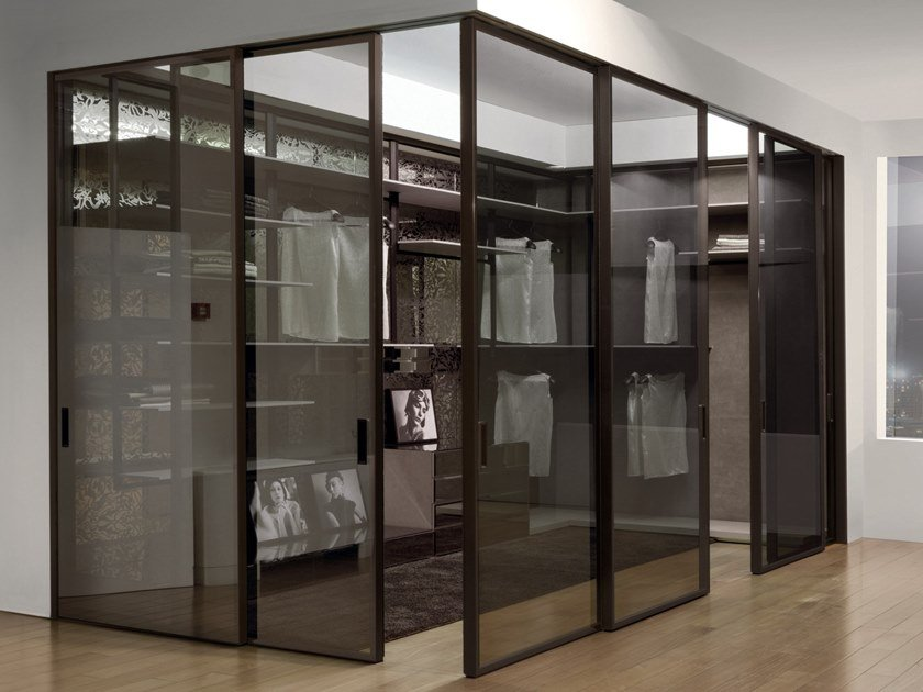 Sliding glass cabinet door for walk-in wardrobes SCREEN | Glass cabinet door by Longhi