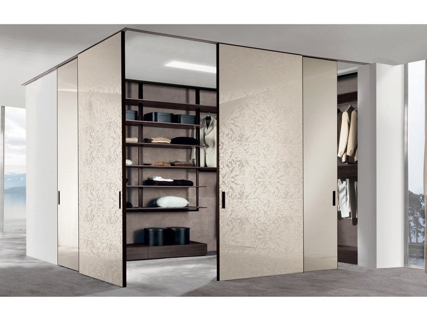 Lacquered mirrored glass cabinet door SCREEN | Sliding cabinet door by Longhi