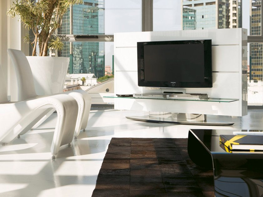 Swivel TV cabinet with shelves SCREEN by Pacini & Cappellini