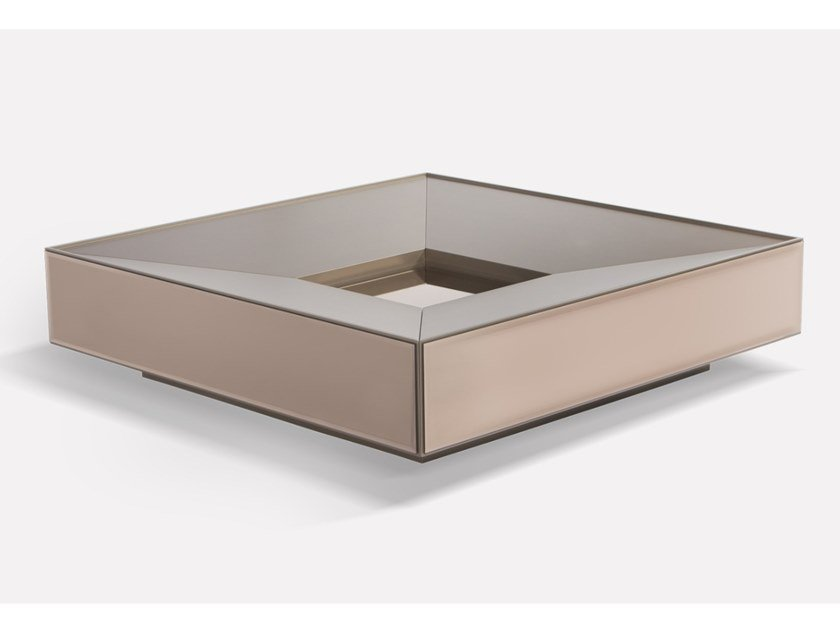 Low glass coffee table with storage space SCRIGNO by MORADA