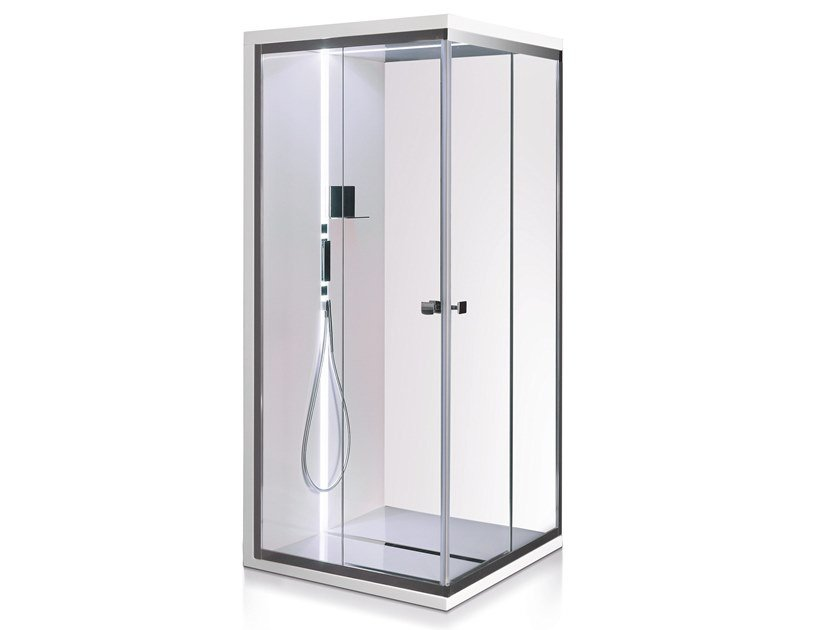 Corner glass shower cabin with tray SCURETTO 990 by Gruppo Treesse