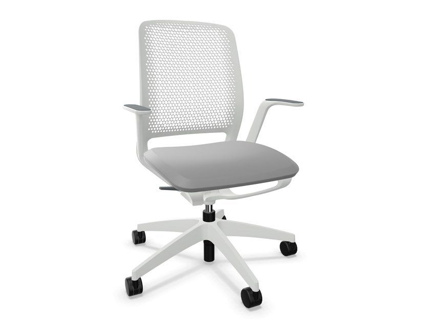 Height-adjustable mesh office chair with 5-Spoke base with armrests SE:MOTION by Sedus