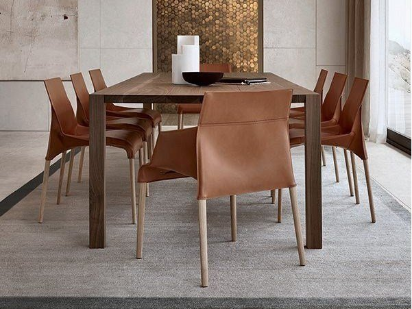 Tanned leather chair with armrests SEATTLE | Chair with armrests by poliform
