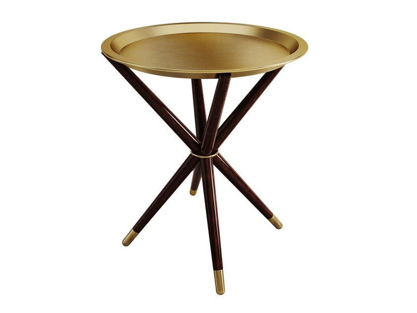 Brass and wood side table SEATTLE by Porustudio