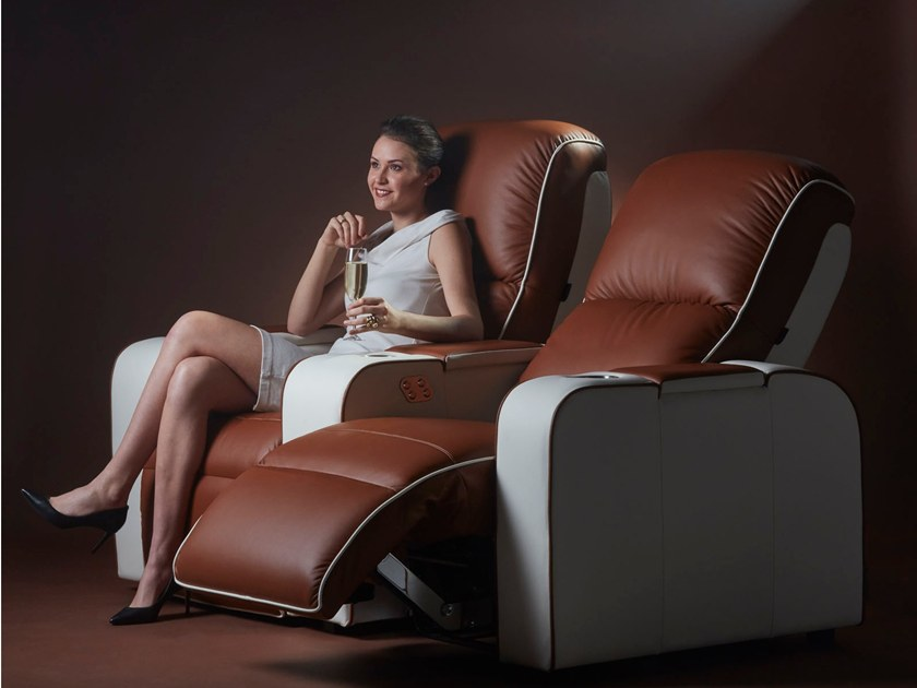 Sectional cowhide Cinema armchair with motorised functions DALLAS | Sectional Cinema armchair by moovia
