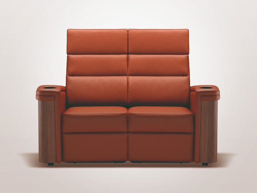 Sectional leather Cinema armchair with motorised functions STOCKHOLM | Sectional Cinema armchair by moovia