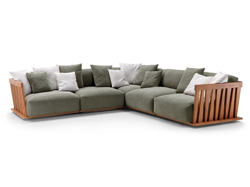 Sectional fabric garden sofa with removable cover ZANTE by FLEXFORM