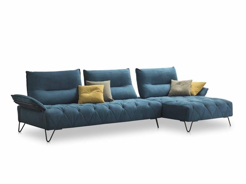 Divano componibile in tessuto con chaise longue EMERALD | Divano componibile by AERRE ITALIA