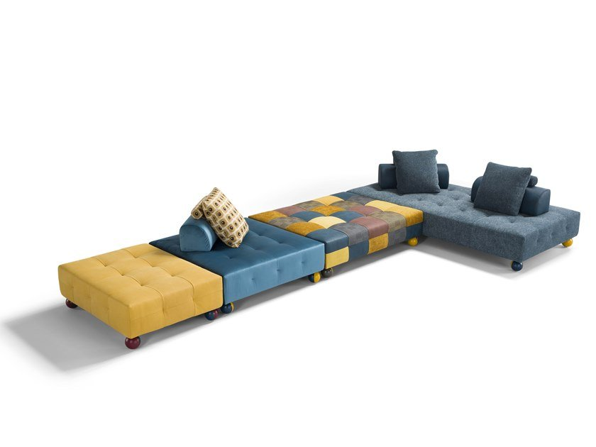 Sectional leather and fabric sofa L'EGO | Sectional sofa by Egoitaliano