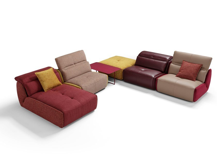 Sectional leather sofa with electric motion SELFY | Sectional sofa by Egoitaliano