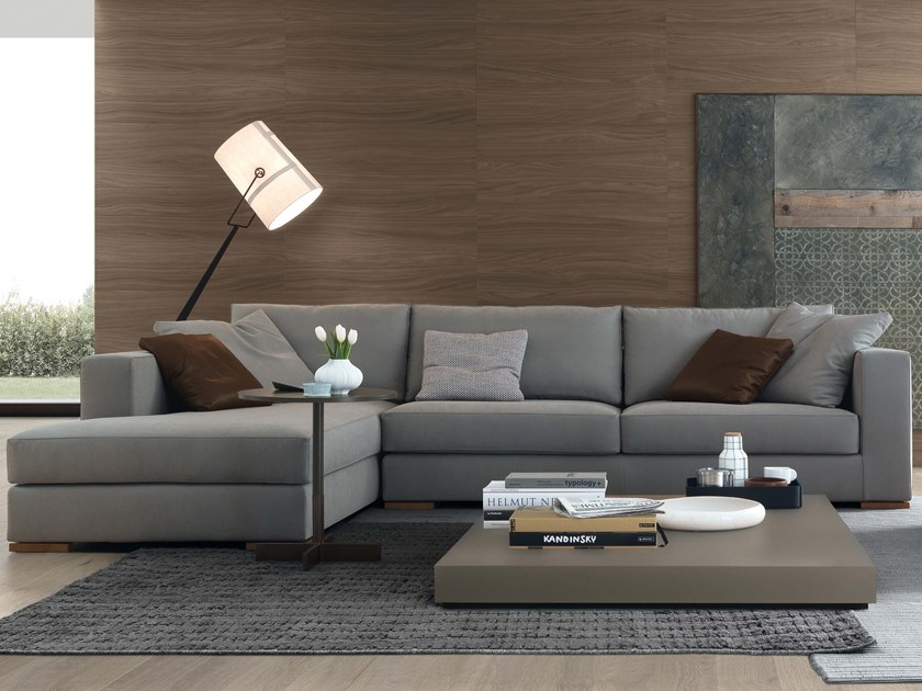 Sectional 3 seater fabric sofa with chaise longue ARTHUR | Sofa with chaise longue by JESSE