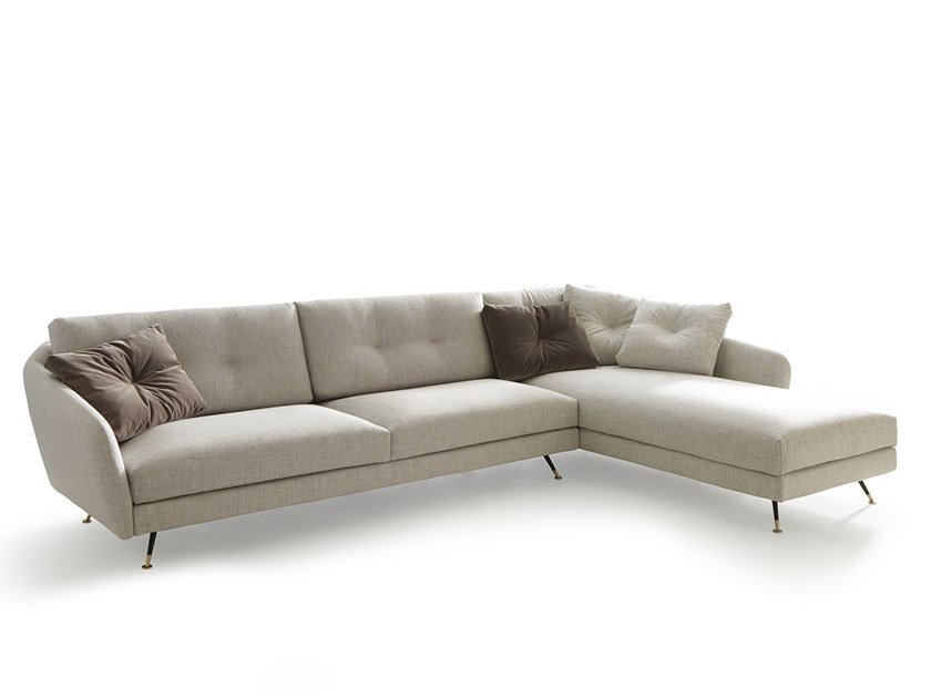 Sectional fabric sofa with chaise longue DUKE   Sectional sofa by VALENTINI