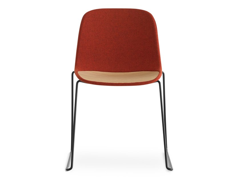 Sled base stackable fabric chair SEELA | Fabric chair by Lapalma