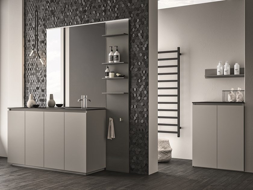 Melamine-faced chipboard vanity unit with drawers SEGNO | Laundry room cabinet by Cerasa