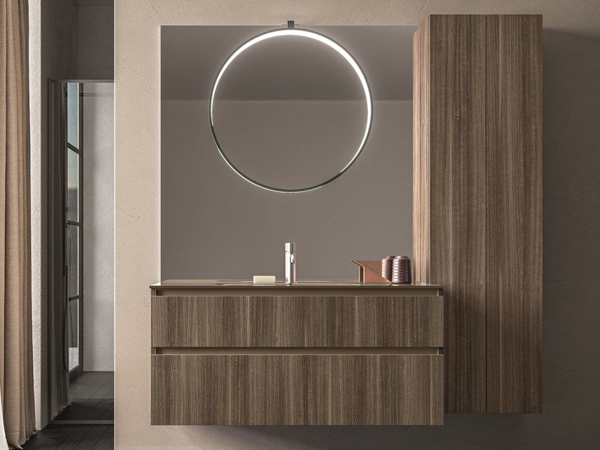 Wall-mounted wooden vanity unit with cabinets SEGNO | Wooden vanity unit by Cerasa
