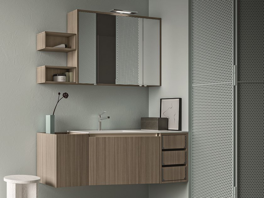 Wall-mounted melamine-faced chipboard vanity unit with drawers SEGNO | Melamine-faced chipboard vanity unit by Cerasa