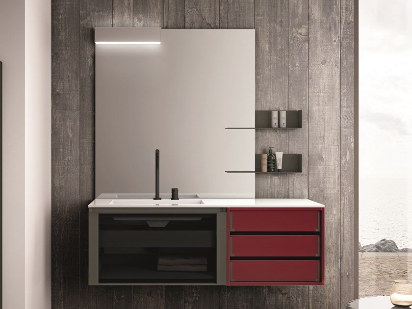 Lacquered wall-mounted vanity unit with drawers SEGNO | Lacquered vanity unit by Cerasa