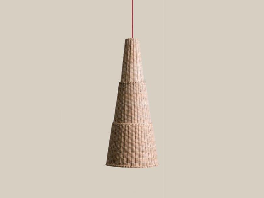 Lampada a sospensione in midollino SEIA 98 by Bottega Intreccio
