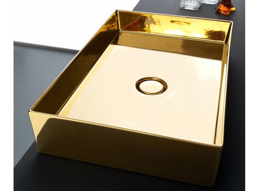 Countertop rectangular ceramic washbasin SELFIE LUXURY GOLD by Alice Ceramica
