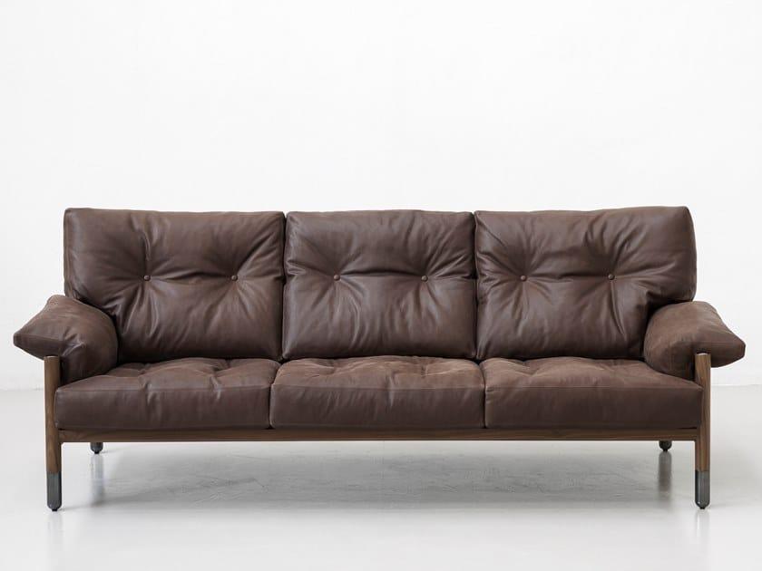 3 seater leather sofa SELLA by Tacchini