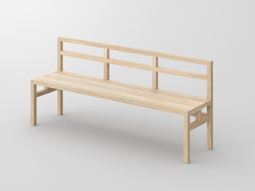Solid wood bench with back SENA | Bench with back by Vitamin Design