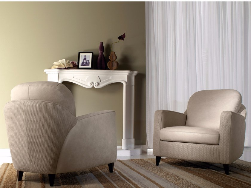 Leather armchair with armrests SENECA by Borzalino