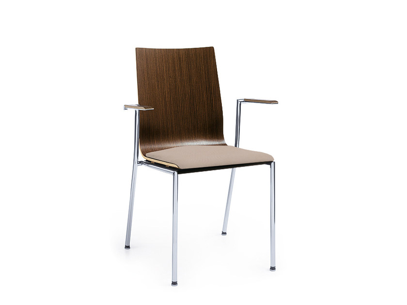 Stackable wooden training chair with armrests SENSI K2H by profim