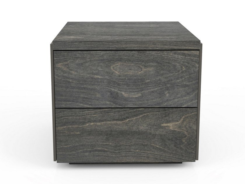 Rectangular birch bedside table with drawers SERENO | Bedside table by Huppé
