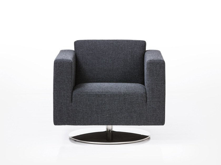 Swivel fabric armchair with armrests SERGE | Fabric armchair by brühl