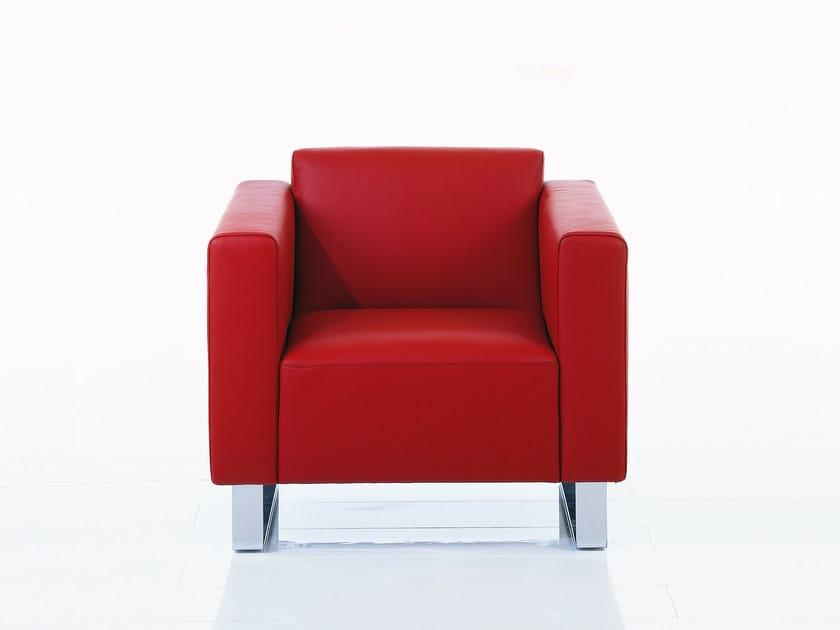 Sled base leather armchair with armrests SERGE   Sled base armchair by brühl