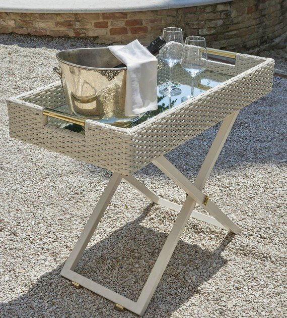 Height-adjustable garden side table SERVANT | Rectangular coffee table by Samuele Mazza by DFN
