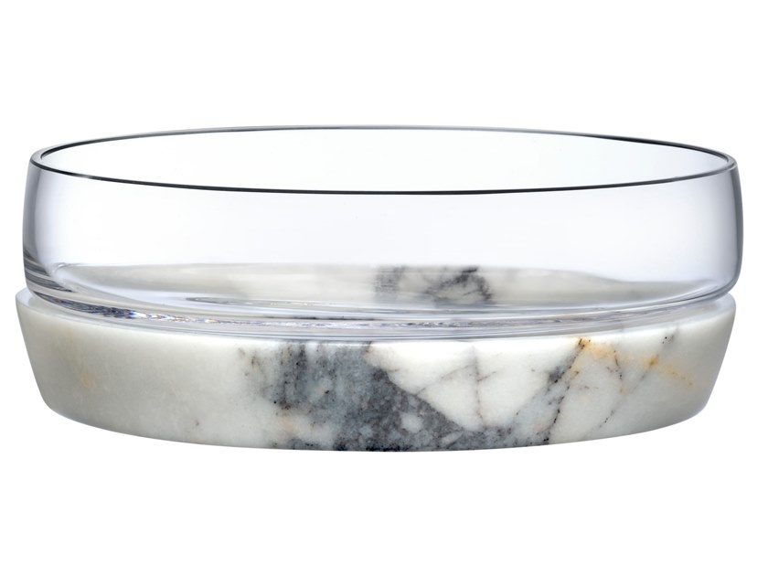 Crystal bowl with marble base CHILL | Serving bowl by NUDE