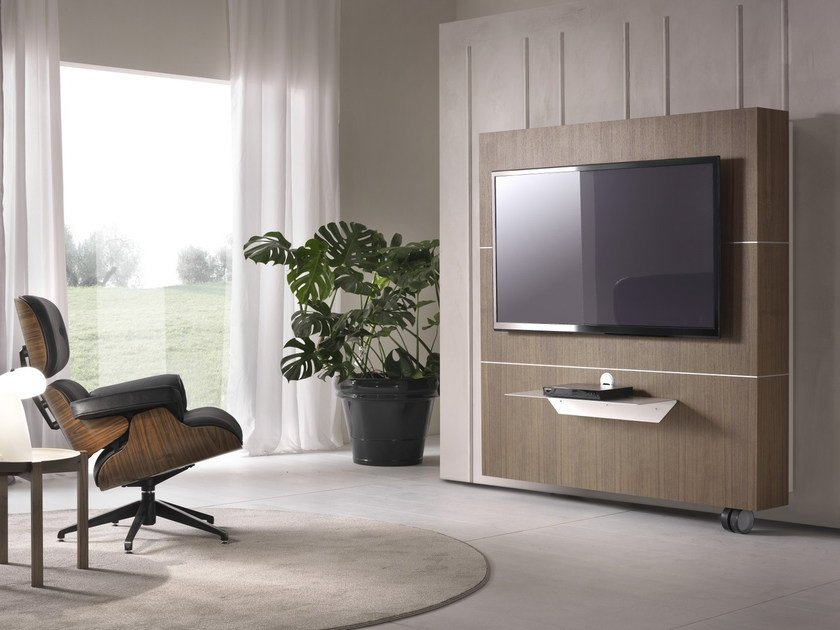 Wood veneer TV cabinet with casters SESAMO by Pacini & Cappellini