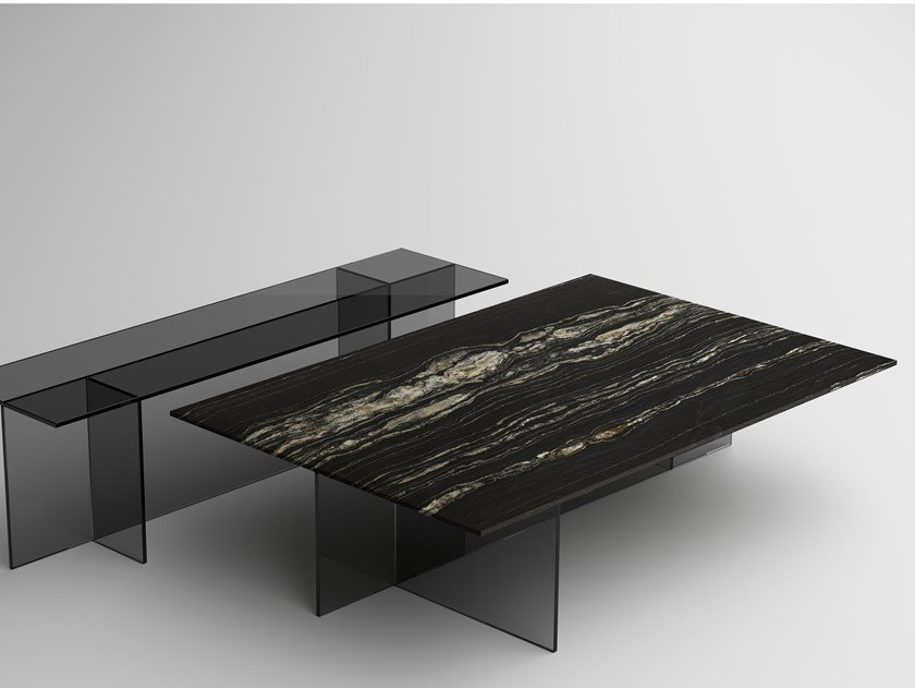 Coffee table with marble top and glass base SESTANTE STONE   Coffee table by Tonelli Design