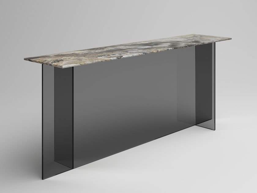 Rectangular console table with marble top and glass base SESTANTE STONE | Console table by Tonelli Design