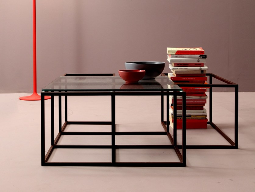 Glass and steel coffee table for living room SET   Coffee table for living room by Twils