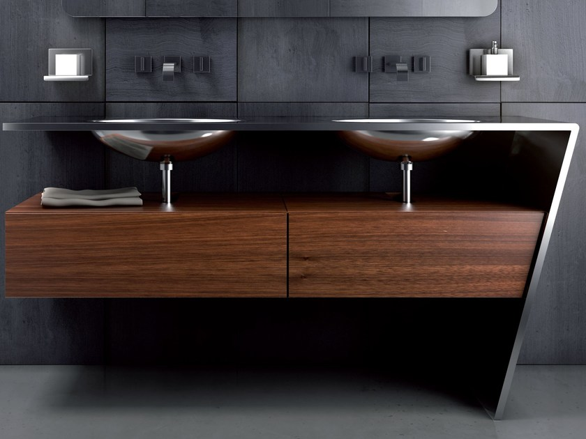 Double stainless steel and wood vanity unit SETTE | Double vanity unit by Componendo