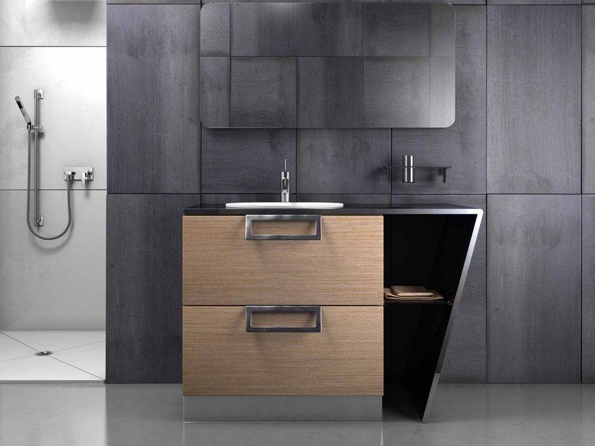 Single stainless steel and wood vanity unit SETTE | Single vanity unit by Componendo