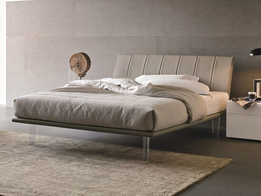 Leather double bed with upholstered headboard SEVEN | Bed with upholstered headboard by Gruppo Tomasella
