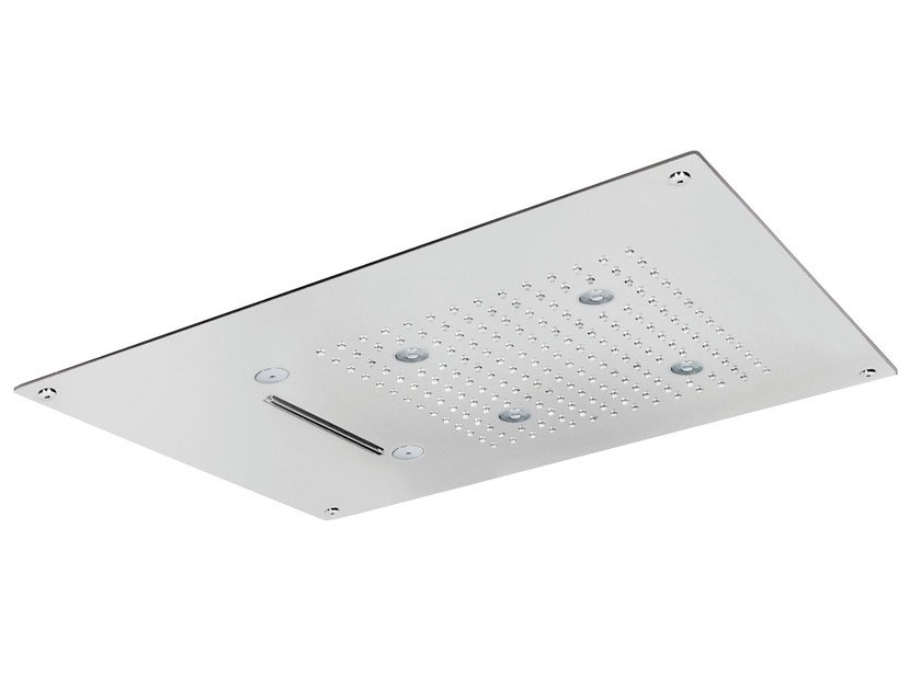 Built-in 3-spray overhead shower ROCK | Overhead shower with built-in lights by AQUAelite