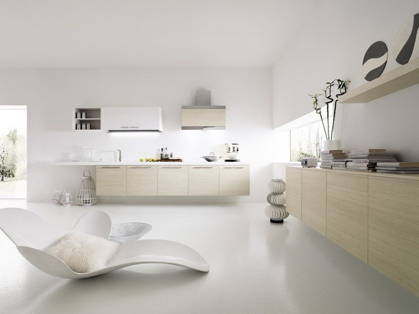 Lacquered wall-mounted kitchen with handles SFERA | Wall-mounted kitchen by DIBIESSE