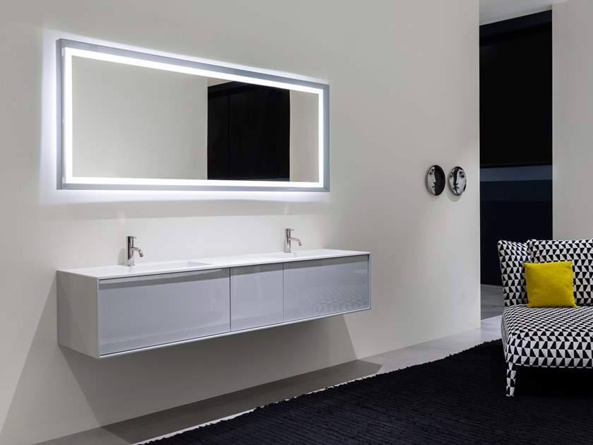 Framed bathroom mirror with integrated lighting SFOGLIA by Antonio Lupi Design