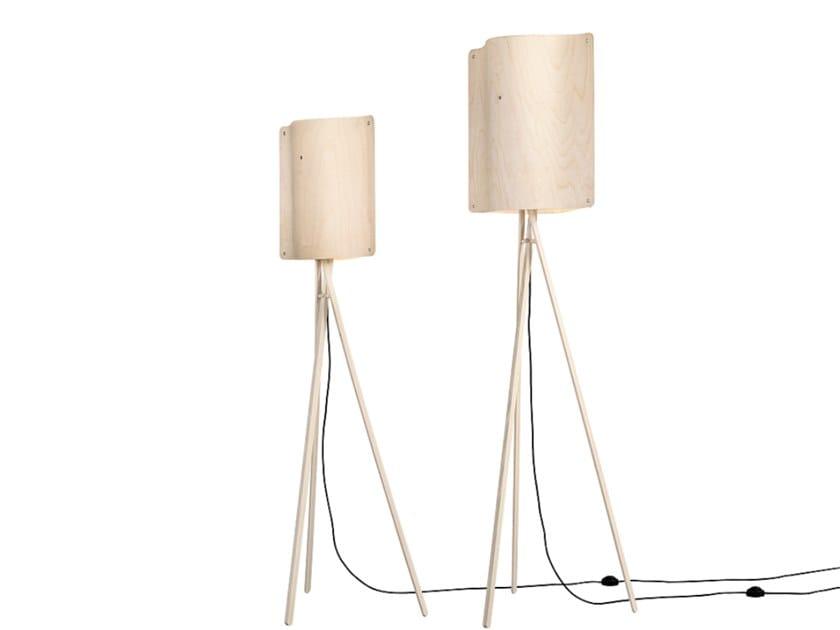 LED multi-layer wood floor lamp SQUARE FLOOR SMALL by Finom Lights