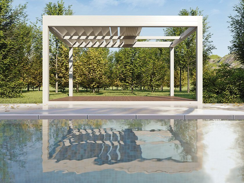 Pergola with folding louvers with adjustable louvers QBOX SHADE | Pergola with folding louvers by Sprech