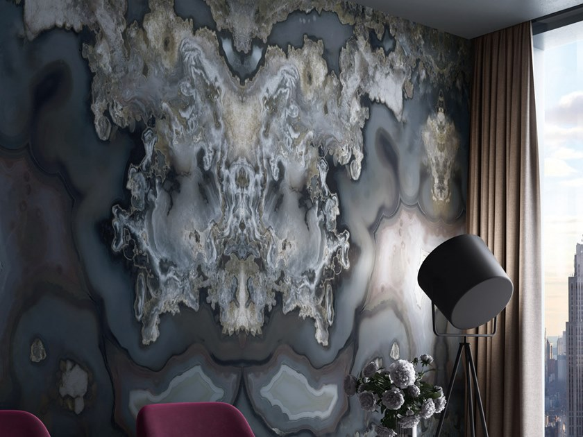 Nonwoven wallpaper with marble effect SHANAY by Tecnografica Italian Wallcoverings