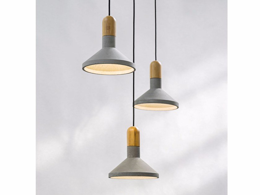 LED concrete pendant lamp SHANG BAMBOO by Bentu Design