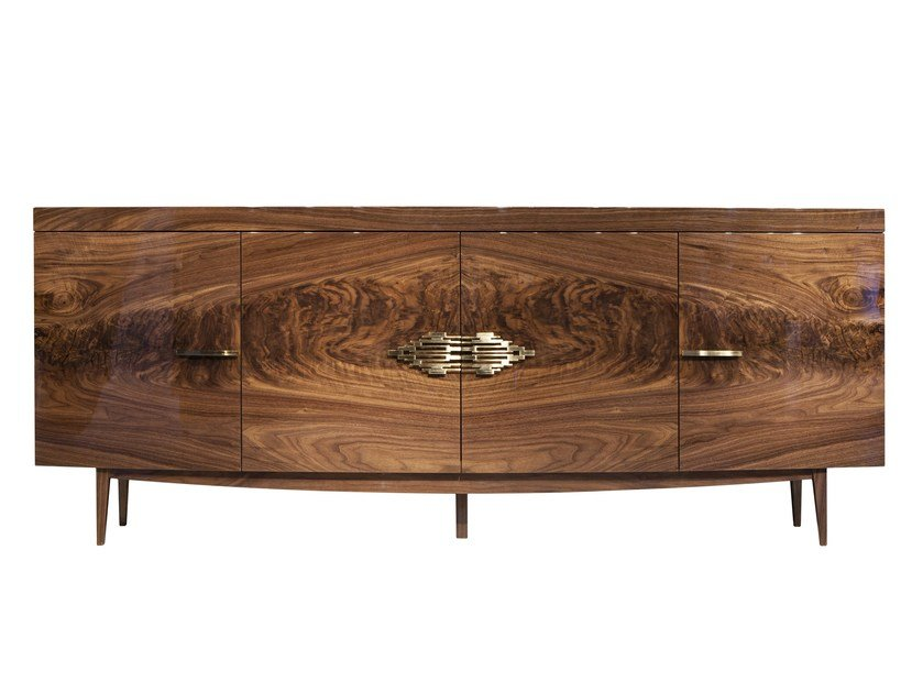 Lacquered wood veneer sideboard with doors SHANGAI | Sideboard by Mobi