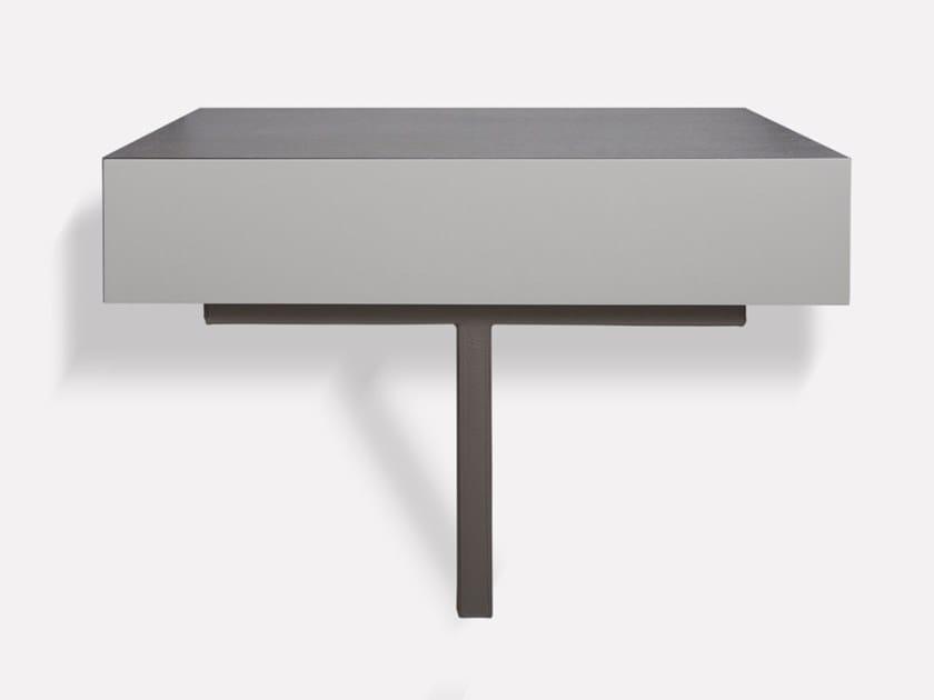 Rectangular wall-mounted wooden bedside table with drawers SHANGHAI | Wall-mounted bedside table by MORADA