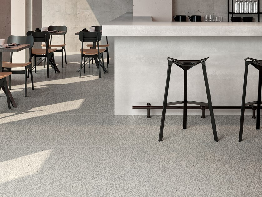 Porcelain stoneware flooring terrazzo effect SHARDS SMALL GREY by CERAMICA FONDOVALLE